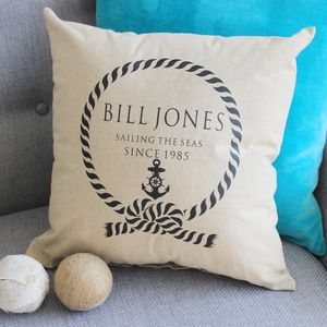 Personalised 'Sailing The Seas' Linen Cushion