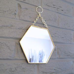Brass Hexagonal Mirror - bedroom