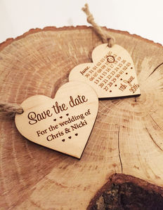 Save The Date Wooden Heart - wedding stationery