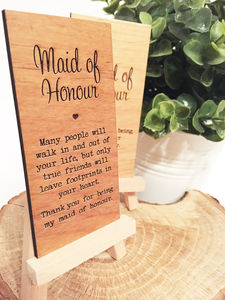 Maid Of Honour Wooden Place Setting - what's new