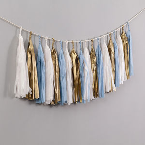Baby Blue Handcut Tassel Garland - children's room accessories