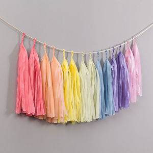 Pastel Rainbow Handcut Tassel Garland - occasional supplies