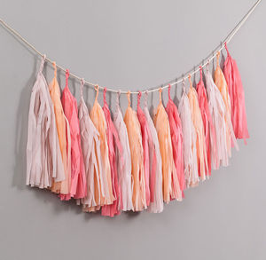 Peach Blossom Handcut Tassel Garland - outdoor decorations