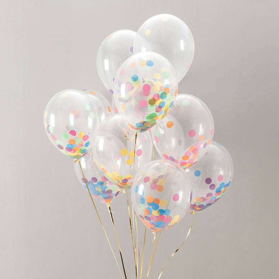 Pack of 14 rainbow bright confetti balloons by bubblegum balloons notonthehighstreet com