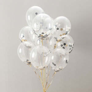 Pack Of 14 Glitz And Glam Confetti Balloons - outdoor decorations