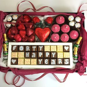 Large Personalised Chocolate Ruby Wedding Gift Box