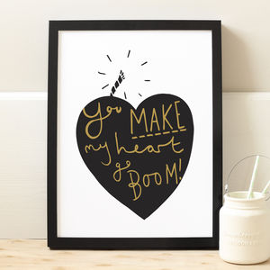 Explosive Heart Valentine's Print - gifts under £25 for her
