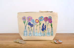 Flower Vases Canvas Coin Purse - make-up bags