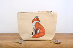 Fox Canvas Coin Purse - make-up & wash bags