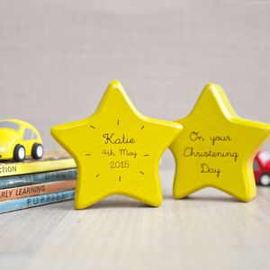 Personalised Wooden Star Keepsake Rattle - baby care