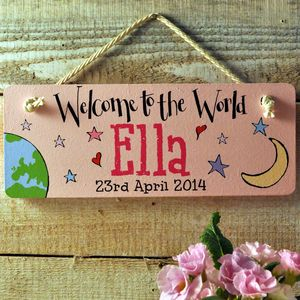 Personalised Wooden Door Sign Baby Girl Gift