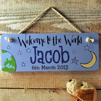 Personalised Wooden Door Sign Baby Boy