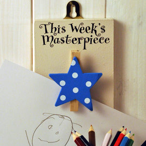 'This Week's Masterpiece' Wooden Peg Blue Star - furnishings & fittings