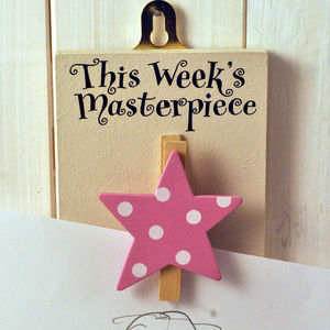 'This Week's' Masterpiece Wooden Peg Pink Star - pictures & prints for children