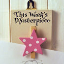 'This Week's' Masterpiece Wooden Peg Pink Star