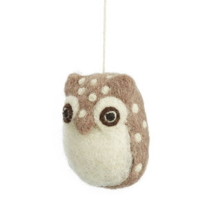 Handmade Felt Baby Owl - hanging decorations