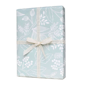 Spearmint Blossom Wrapping Paper Set Of Three Sheets - wrapping