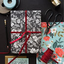 Graphite Lace Floral Wrapping Paper Set Of Three