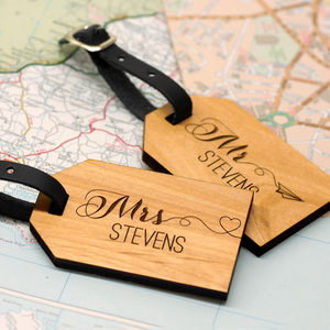 Personalised Wooden Honeymoon Luggage Tags - personalised wedding gifts