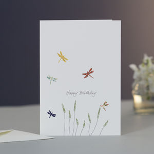 Dragonflies And Grass Birthday Card