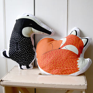 Childen's Fox And Badger Woodland Creature Cushions - woodland nursery