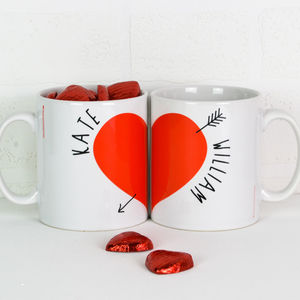 Personalised Love Heart Mugs Pair With Chocolates - love tokens