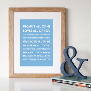 'All Of Me' Song Lyrics Print - canvas prints & art