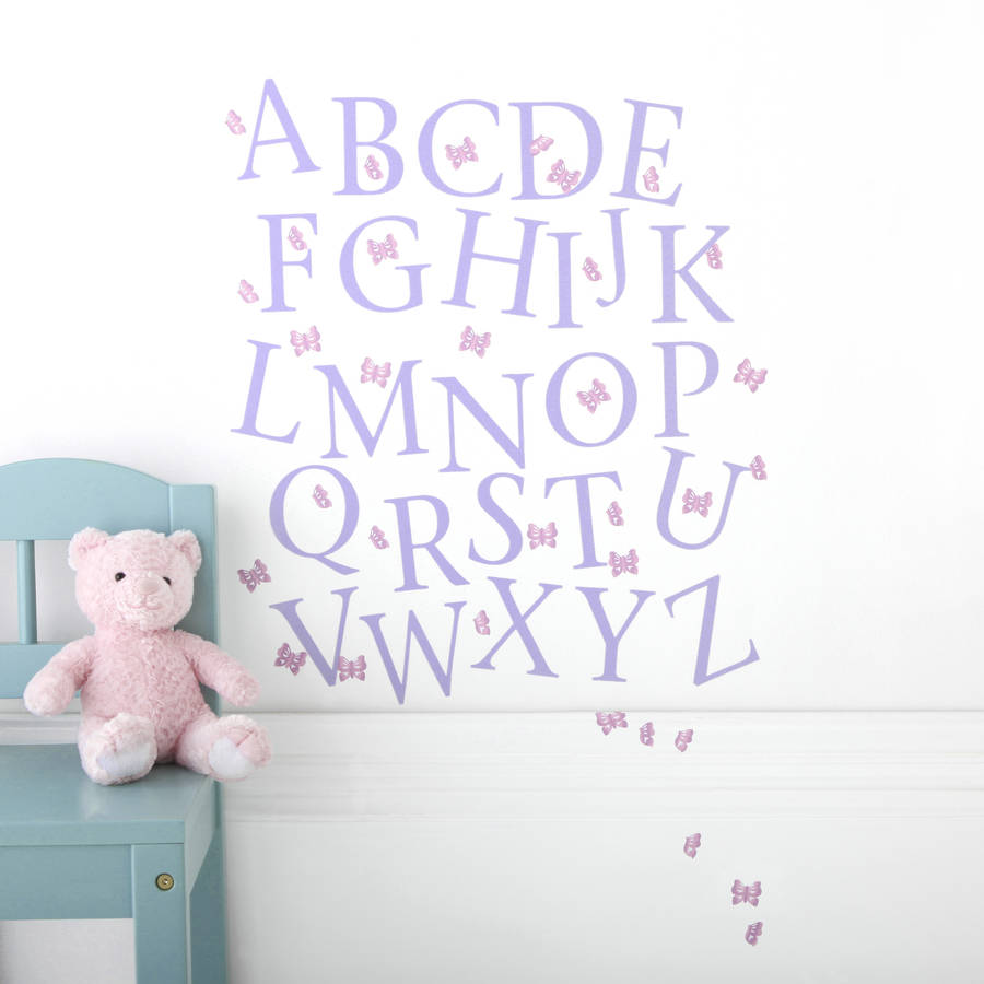 Alphabet wall stickers butterfly alphabet wall stickers upper and lower case wall stickers amipublicfo Images