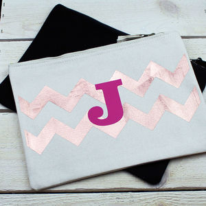 Personalised Chevron Initial Make Up Bag
