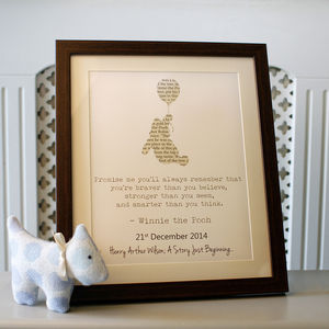 Personalised Winnie The Pooh Typography - children's pictures & paintings