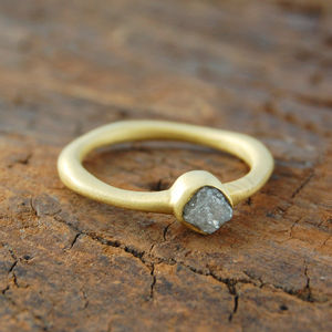 Anniversary Birthstone Rough Diamond Gold Ring - engagement rings