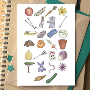 Gardening Alphabet Card By Becka Griffin Illustration