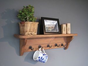Country Kitchen Wall Unit With Metal Cup Holders - shelves