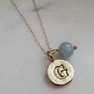 Bronze Initial And Birthstone Necklace