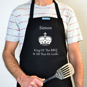Personalised 'King Of The BBQ' Apron - kitchen linen