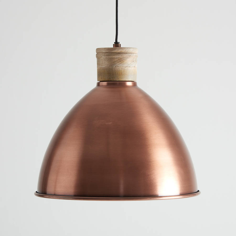 Vintage Copper Pendant Lighting : Antique copper and natural wood pendant light by horsfall