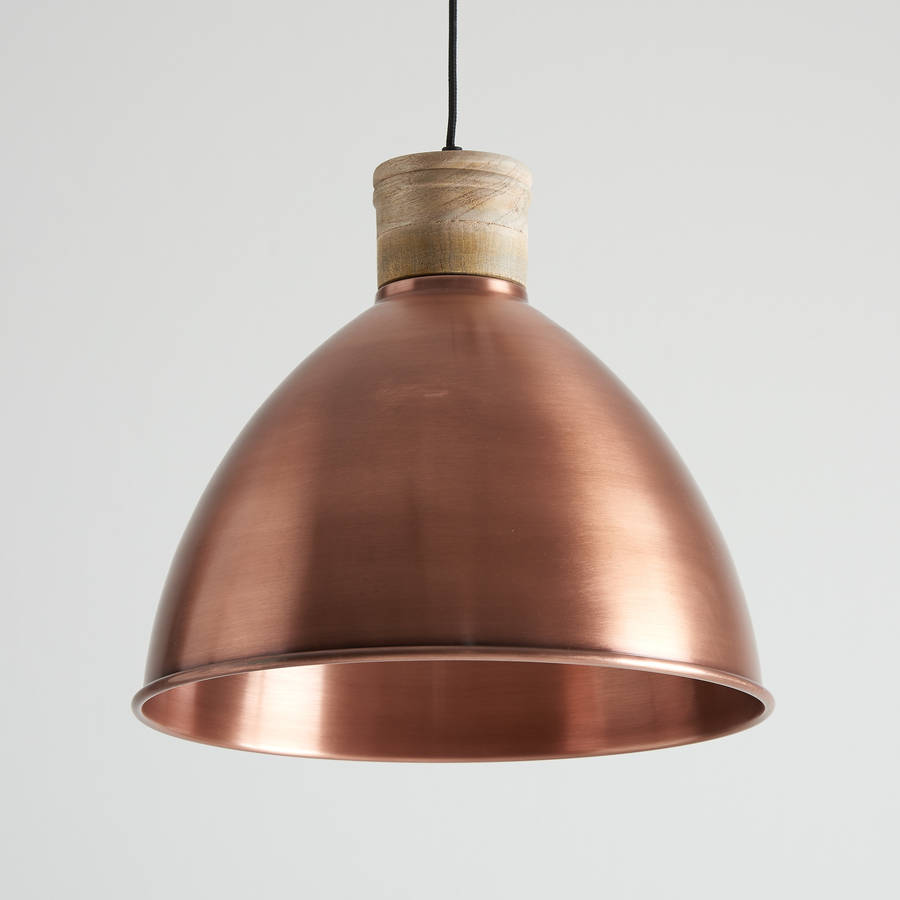 Antique Copper And Natural Wood Pendant Light By Horsfall Amp Wright Notonthehighstreet Com