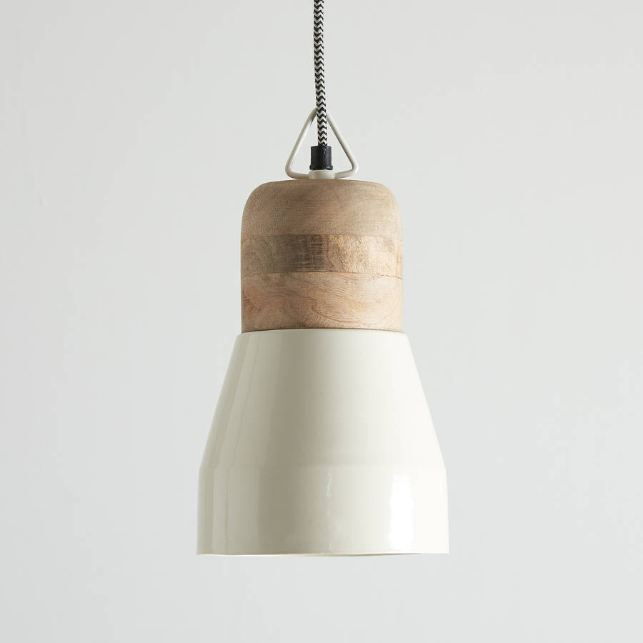 White And Natural Wood Pendant Light By Horsfall Amp Wright
