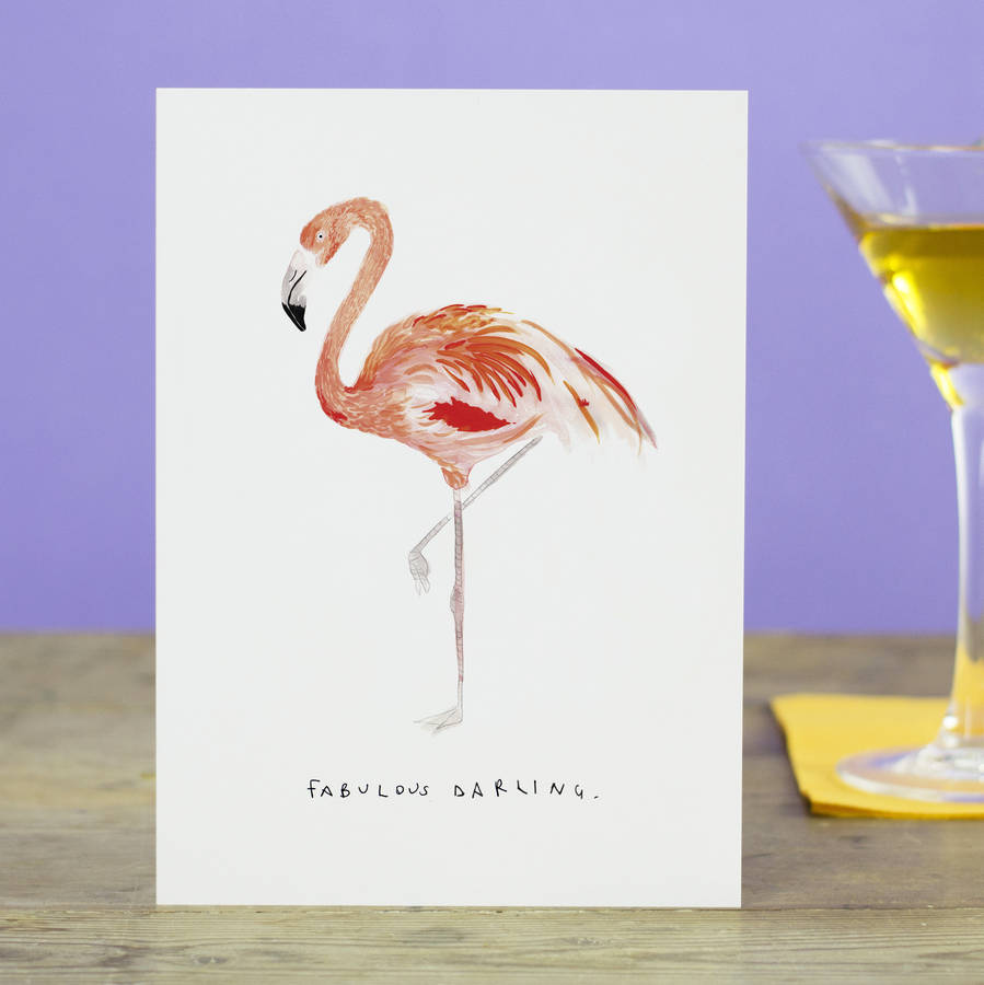 Fabulous Darling Flamingo Greetings Card