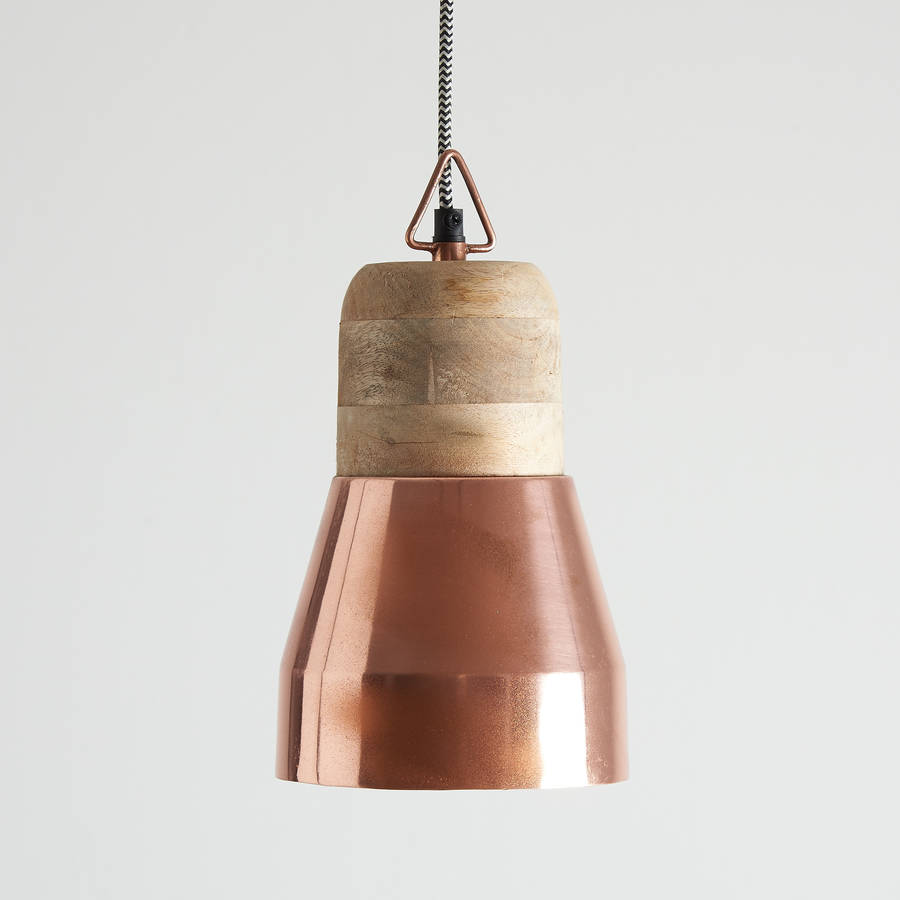 Rose Gold And Natural Wood Pendant Light By Horsfall