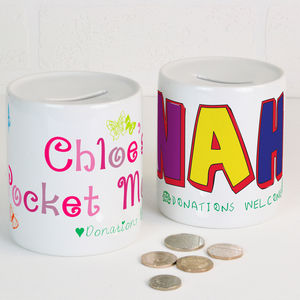 Personalised Ceramic Money Box - children's room accessories