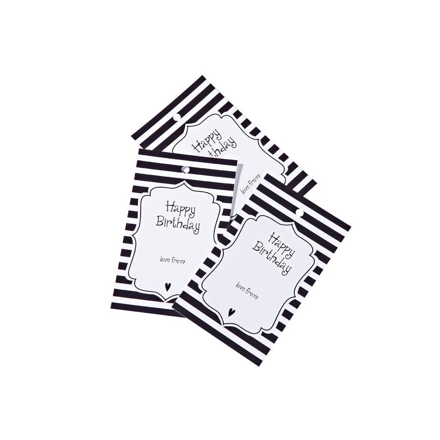 Happy Birthday Gift Tags Black Stripe