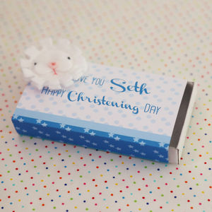 Christening / Baptism Boy Gift Box And Badge