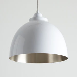 White And Nickel Pendant Light - ceiling lights