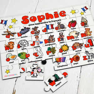 Personalised French Alphabet Wooden Jigsaw Puzzle - educational toys