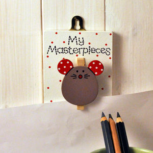 'My Masterpieces' Wooden Mouse Peg - hooks, pegs & clips