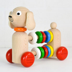 Personalised Wooden Dog Abacus Rattle Toy - gifts for babies