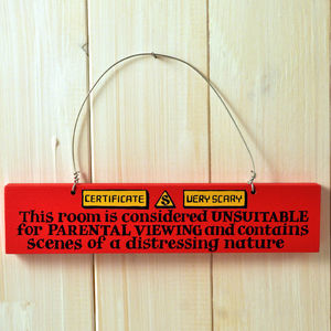 Parental Warning Wooden Door Sign - signs