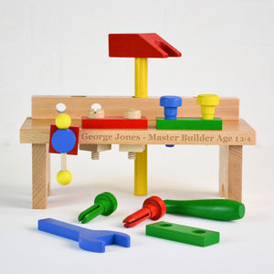 Personalised Wooden Work Bench With Tools - traditional toys