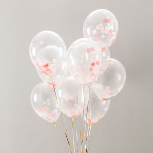 Pack Of 14 Peach Blossom Confetti Balloons - outdoor decorations